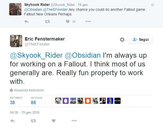 Obsidian vorrebbe un nuovo Fallout Twitter