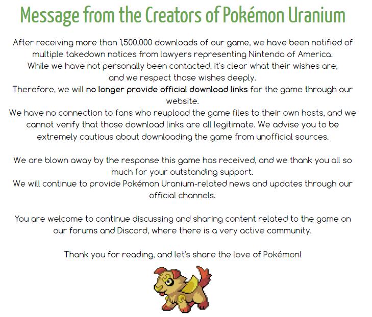 nintendo blocca pokemon uranium