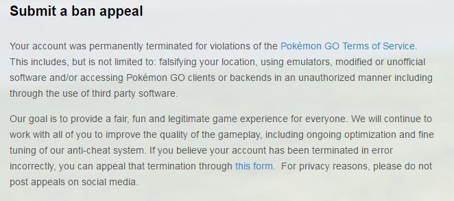 pokemon go ban permanente