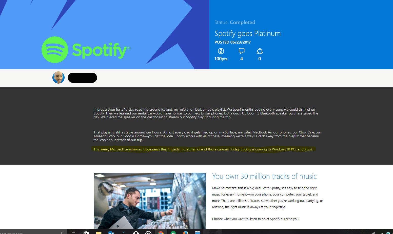 Spotify potrebbe essere in arrivo su Xbox One