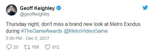 Metro Exodus ai Game Awards 2017