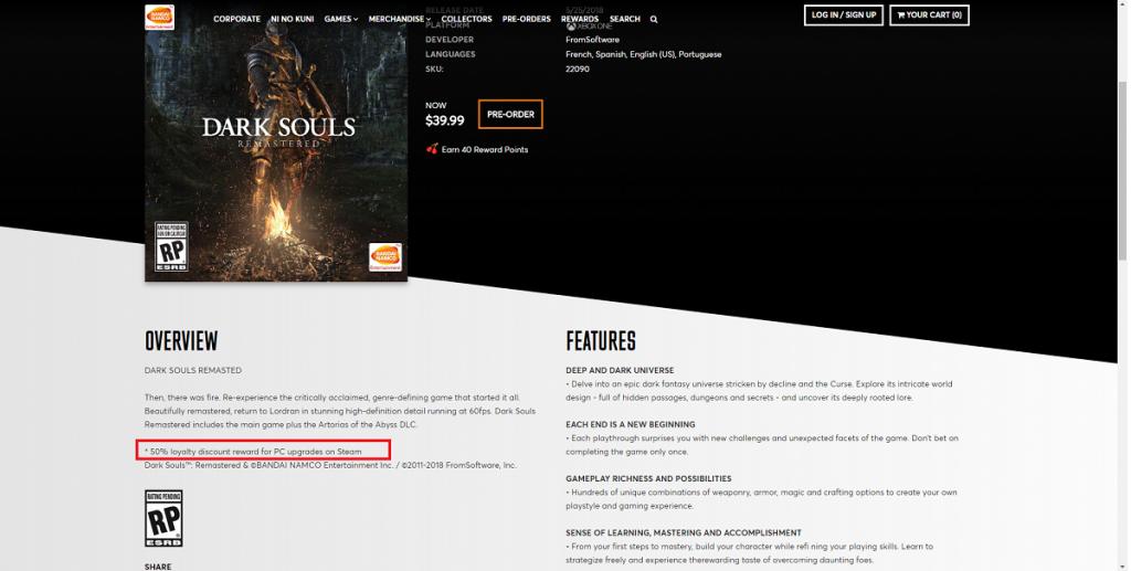 Dark Souls Remastered: il prezzo sarà di 40$