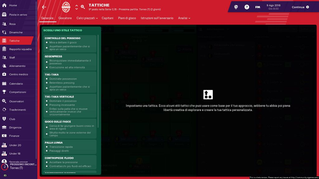 Tattiche FootballManager19
