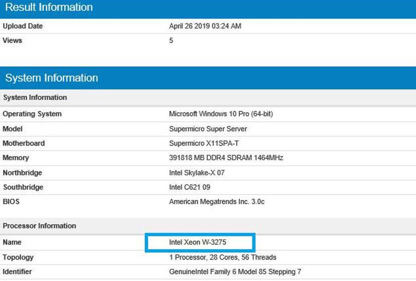 Intel Xeon W-3275 28-core intravisto su Geekbench