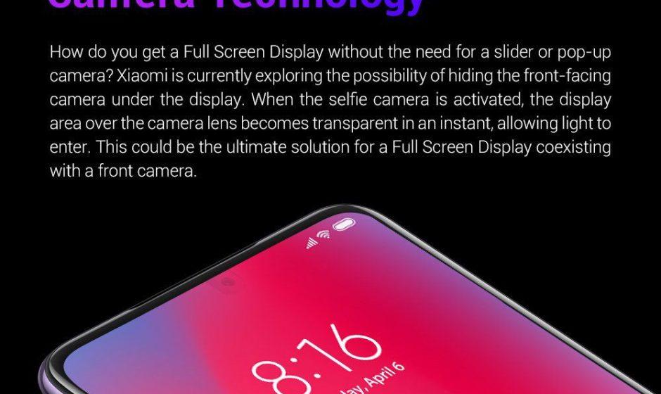 Smartphone Xiaomi con fotocamera sotto al display