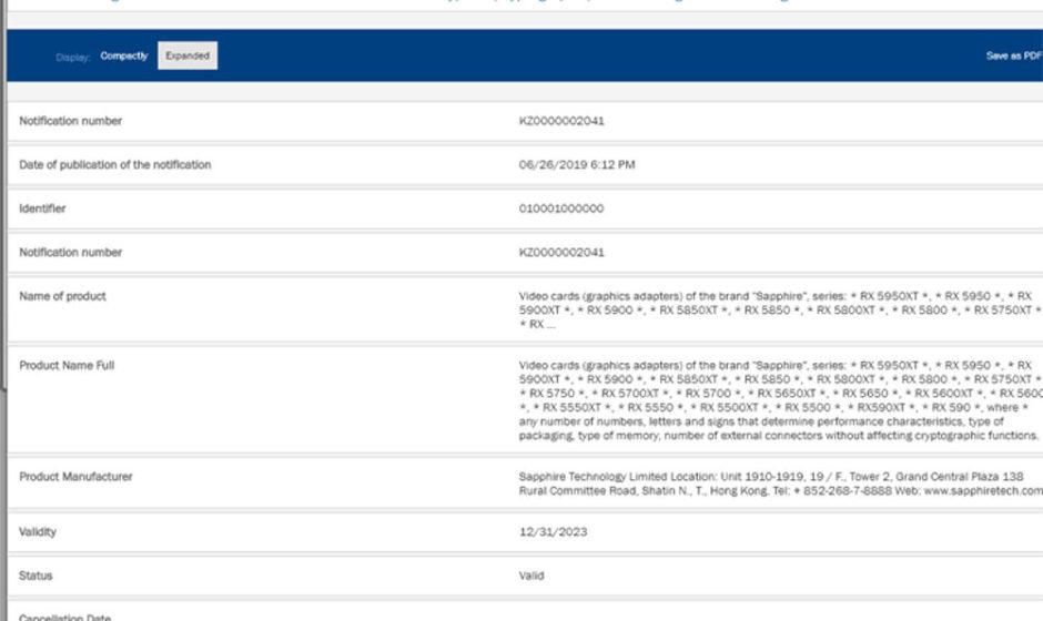 Sapphire registra Radeon RX 5500, 5550 5600, 5800