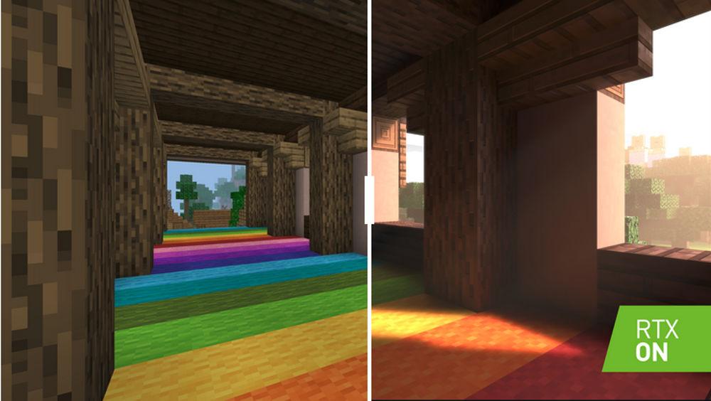 Minecraft con e senza raytracing