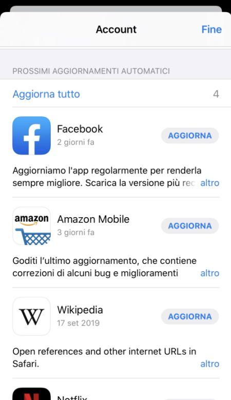 Screen iOS 13 aggiornare app