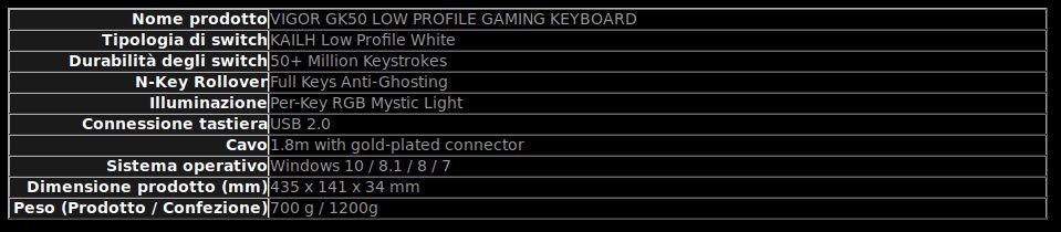 MSI GK50 caratteristiche