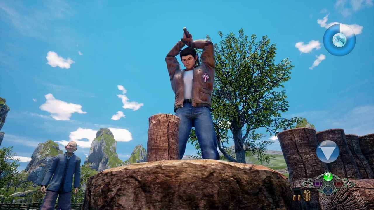 Shenmue III wood chopping