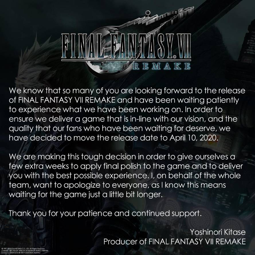 Final Fantasy VII Remake rinvio