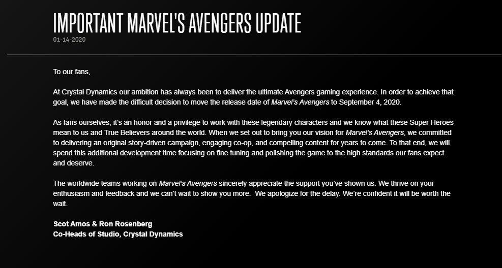 Marvel's Avengers rimandato