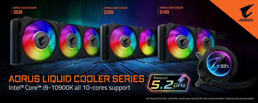La serie LIQUID COOLER AORUS supporta i9 10900K