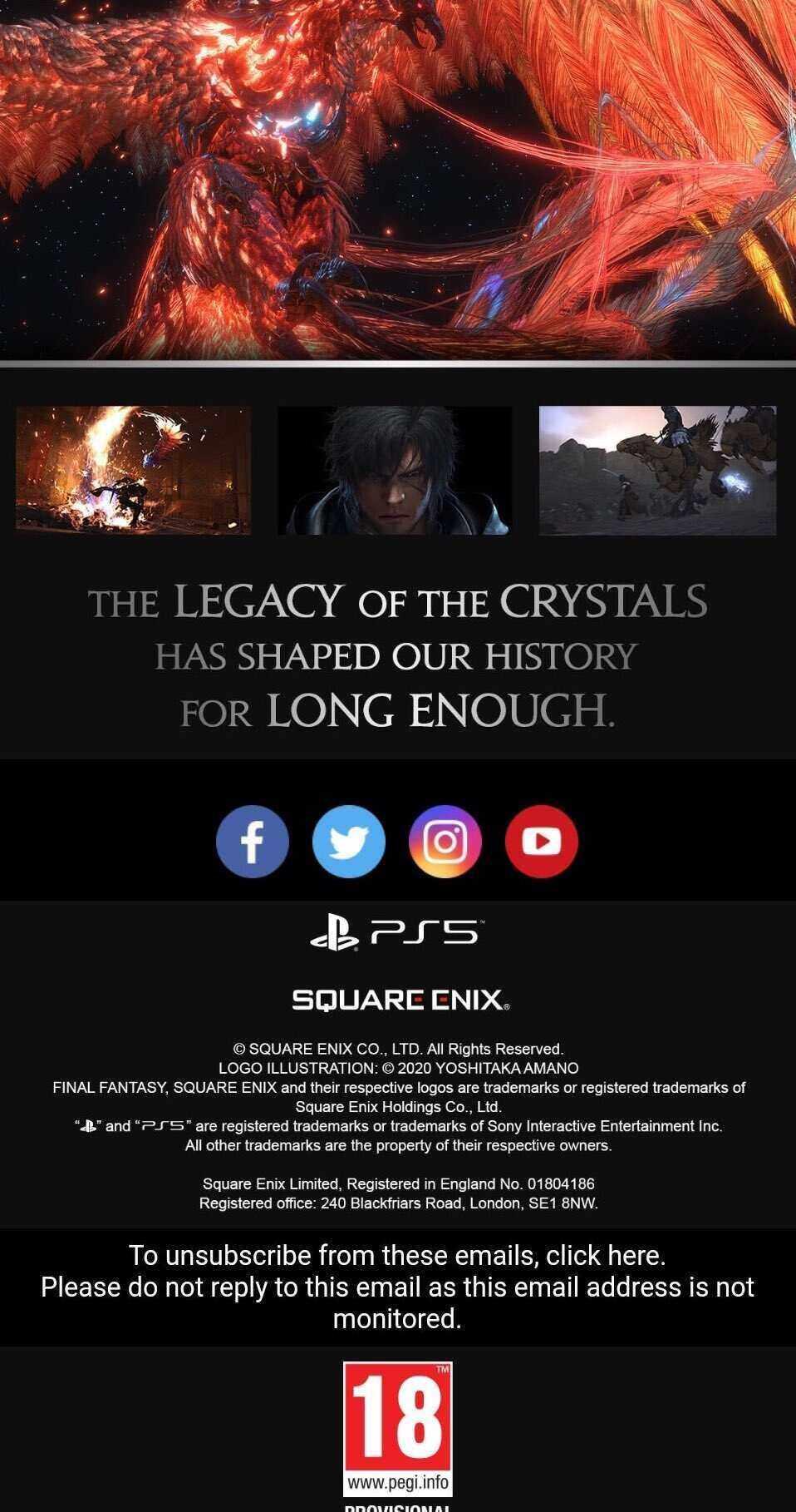 Final Fantasy XVI mail PEGI 18