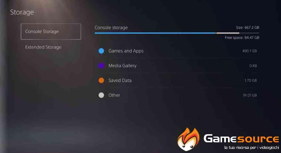 Risparmiare spazio su PlayStation 5